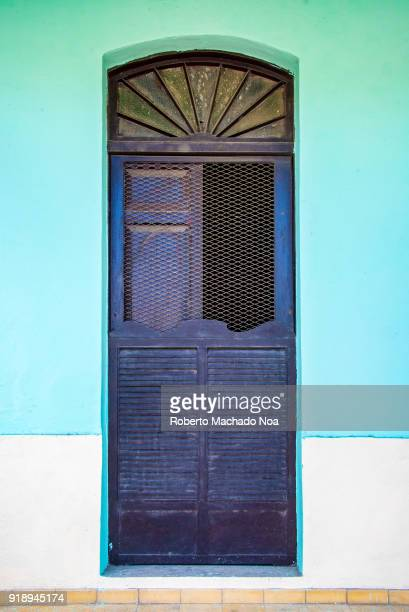 Detail of vintage architecture wooden complicated door in an old house