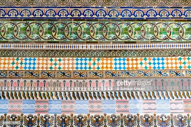 Detail of wall mosaics in Reales Alcazares of Seville