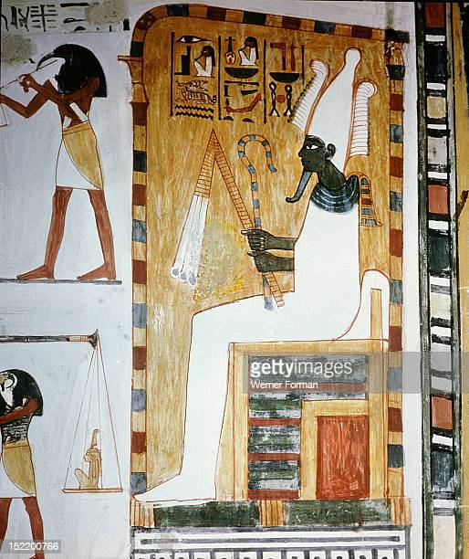 A detail of wall painting in the tomb of Menna showing the judgement of Osiris who appears in his green form as god of fertility He carries the crook...