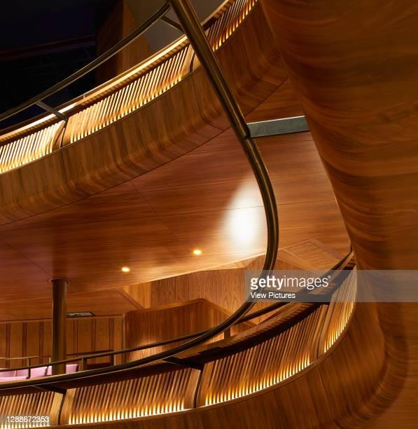 Detail of walnut cladding in Linbury Theatre. Royal Opera House, London, United Kingdom. Architect: Stanton Williams, 2018.