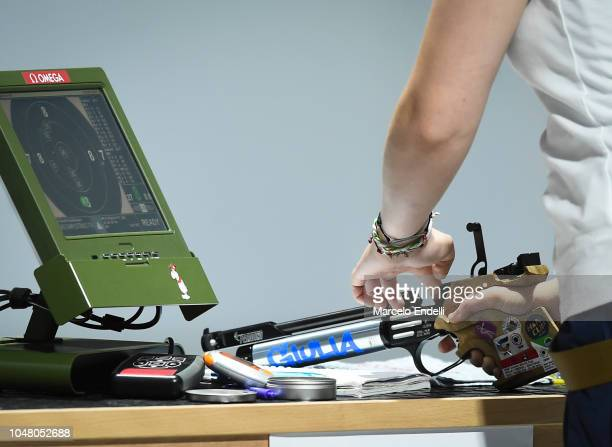 Detail of weapon during a 10m Air Pistol Women's Qualification Competition during Day 3 of Buenos Aires 2018 Youth Olympic Games at Tecnopolis Park...