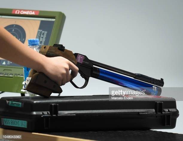 Detail of weapon of Amanda Sao Keng Mak of Singapore during a 10m Air Pistol Women's Qualification Competition during Day 3 of Buenos Aires 2018...