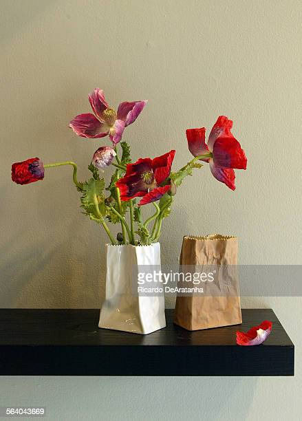 Detail of wild poppies with 70's Tapio Wirrkala for Rosenthal German rare Paper Bag vases at Lily Lodge The owner Ariana Lambert is an...