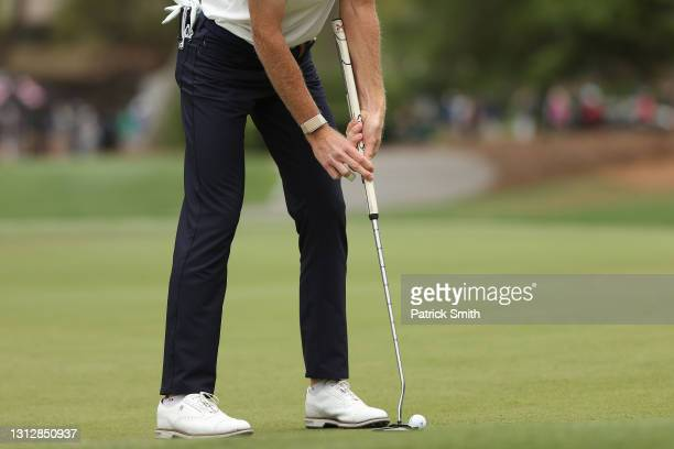 Detail of Will Zalatoris of the United States putting grip on the seventh green during the second round of the RBC Heritage on April 16, 2021 at...