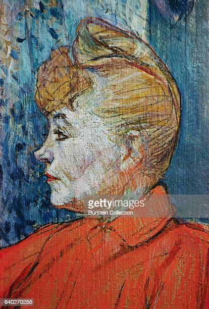 Detail of Woman in Red by Henri de ToulouseLautrec