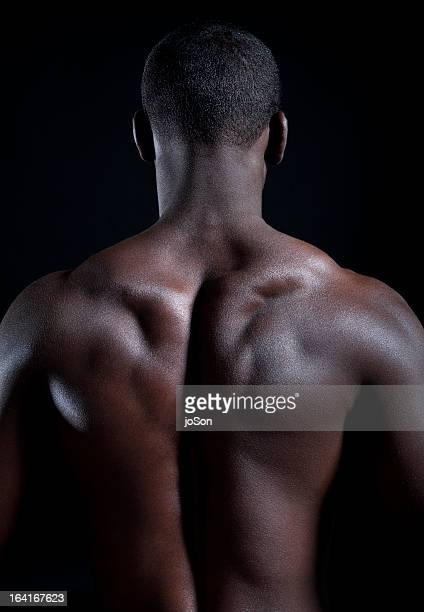 Detail of young muscular man, back muscles
