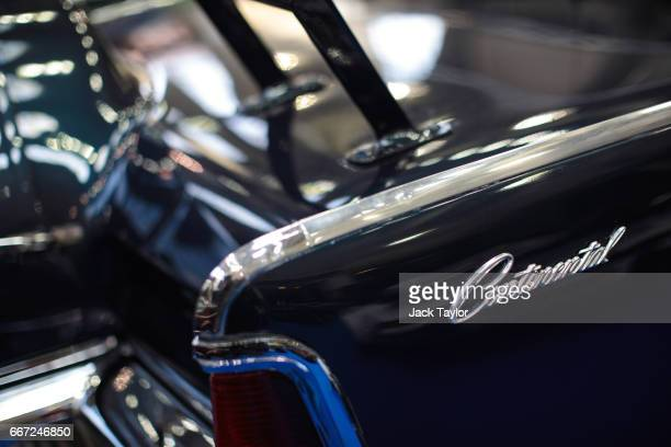 A detail on a 1963 Lincoln Continental Limousine Cabriolet Coachwork a replica of JFK's presidential car at the Royal Horticultural Halls on April 11...