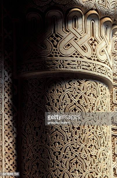 Detail on a pillar of the Glaoui Kasbah of Telouet, in the Dades River valley.