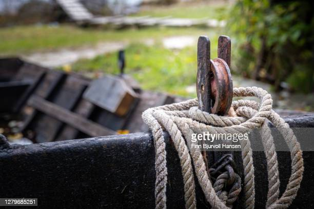 detail on boat used for salmon fishing in norway river - finn bjurvoll stock pictures, royalty-free photos & images