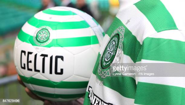 Detail on the badge to mark 125th year anniversary as Celtic's Georgios Samaras and Adam Matthews launch the new Celtic kit for the 201213 season at...