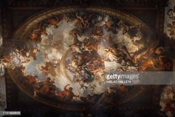 Detail on the ceiling is pictured in The Painted Hall, which has been restored as part of a conservation project, at the Old Royal Naval College in...