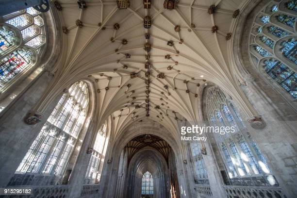 Detail on the interior of the recently revealed restored celing at Winchester Cathedral is pictured on February 7 2018 in Winchester England Built...