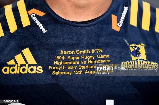 Detail on the jersey of Aaron Smith of the Highlanders is seen during the round 10 Super Rugby Aotearoa match between the Highlanders and the...