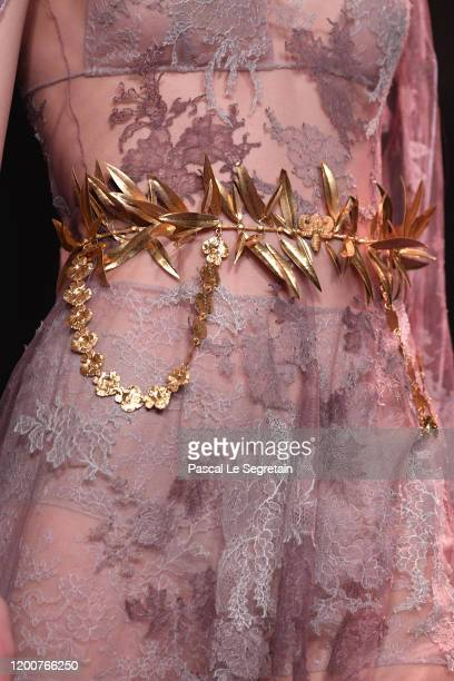 Detail on the runway during the Dior Haute Couture Spring/Summer 2020 show as part of Paris Fashion Week on January 20, 2020 in Paris, France.