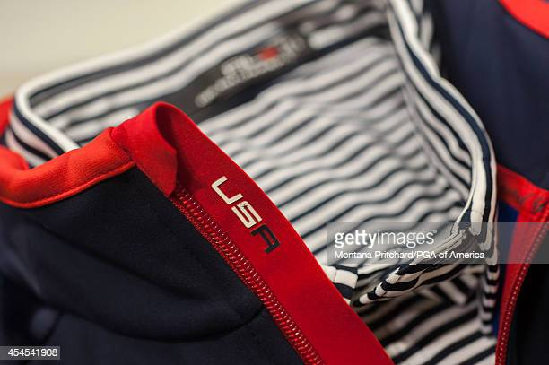 USA detail on the Ryder Cup Team USA uniforms during the Ryder Cup Captain's Picks Media Tour at the Ralph Lauren Headquarters on September 02 2014...