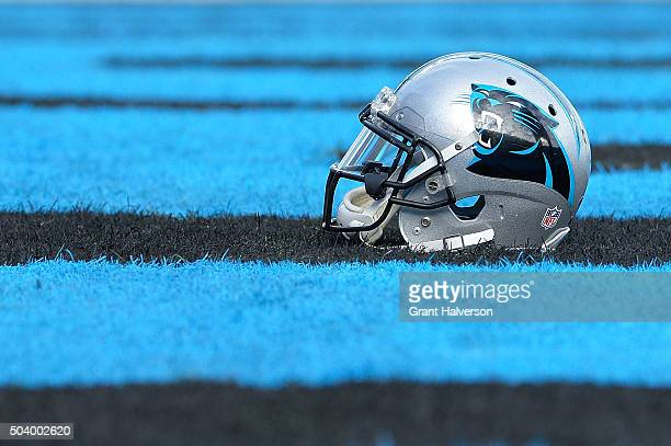 Detail photo of a Carolina Panthers helmet during their game against the Tampa Bay Buccaneers at Bank of America Stadium on January 3 2016 in...