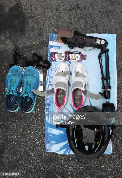 Detail photo of a competitors' transition area equipment during the Legacy Triathlon-USA Paratriathlon National Championships on July 20, 2019 in...