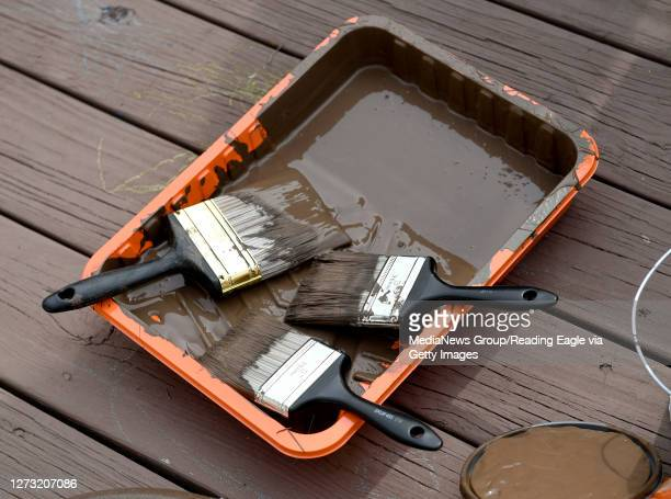 Detail photo of a paint tray with brushes. At Hannah's Hope Ministries in Reading Thursday morning September 17, 2020 where employees from Herbein +...