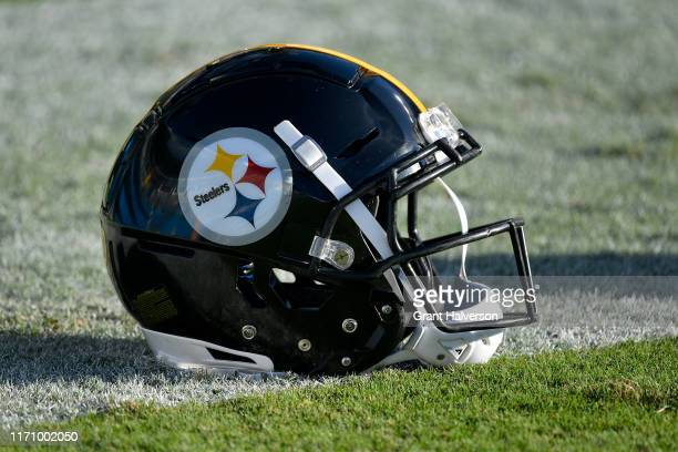 Detail photo of a Pittsburgh Steelers helmet during their preseason game against the Carolina Panthers at Bank of America Stadium on August 29, 2019...