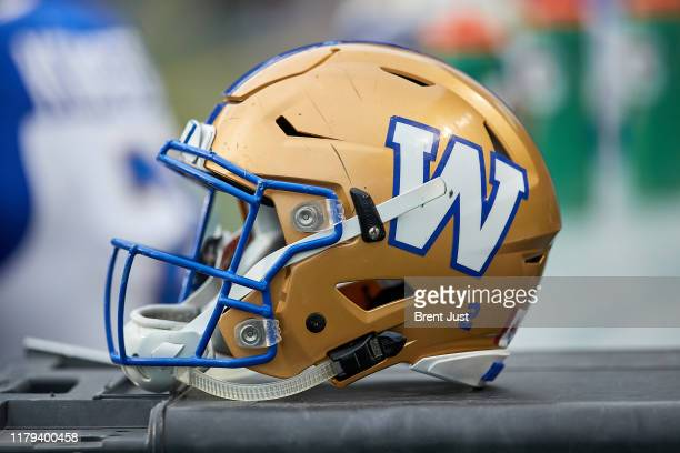 Detail photo of a Winnipeg Blue Bombers helmet taken during the game between the Winnipeg Blue Bombers and Saskatchewan Roughriders at Mosaic Stadium...