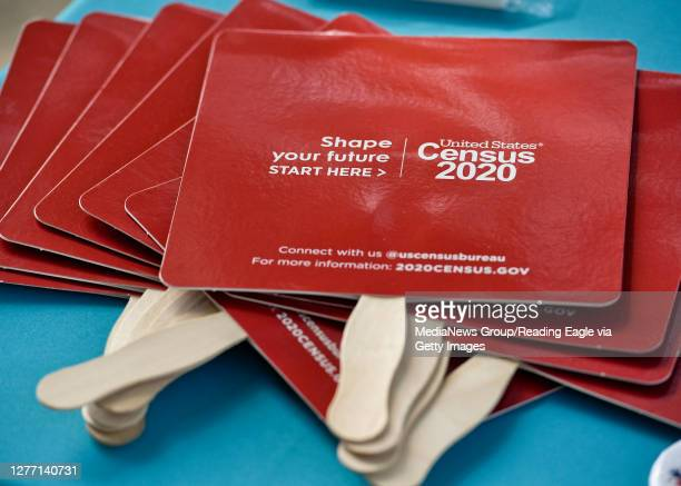 """Detail photo of """"Census 2020"""" fans on the information table for the 2020 Census. Outside the 3rd and Spruce Recreation Center in Reading Friday..."""