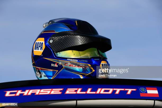 Detail photo of Chase Elliott driver of the NAPA Chevrolet during qualifying for the Monster Energy NASCAR Cup Series Camping World 500 at Phoenix...