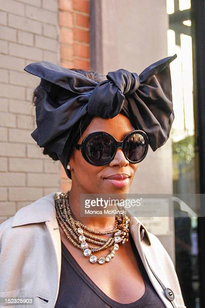 128f470115b5 Detail photo of June Ambrose turban and June Ambrose sunglasses seen  outside the Sophie Theallet showing