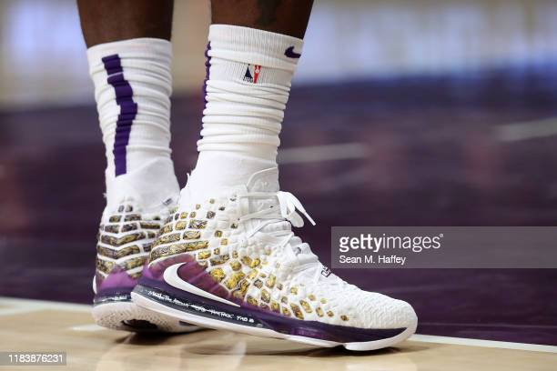 A detail photo of Nike shoes worn by LeBron James of the Los Angeles Lakers during the first half of a game against the Charlotte Hornets at Staples...