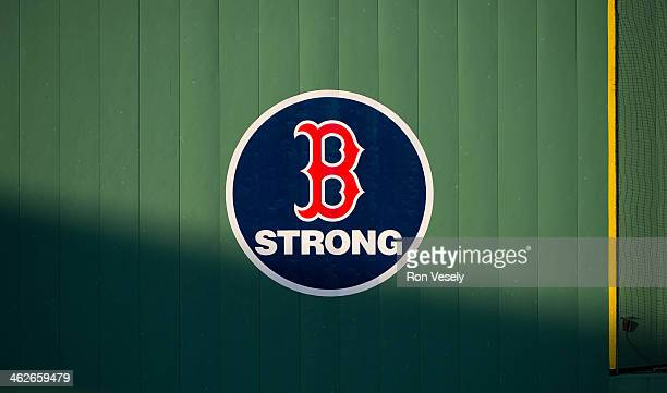 A detail photo of the Boston Red Sox logo before the start of game Game 2 of the 2013 World Series against the St Louis Cardinals at Fenway Park on...