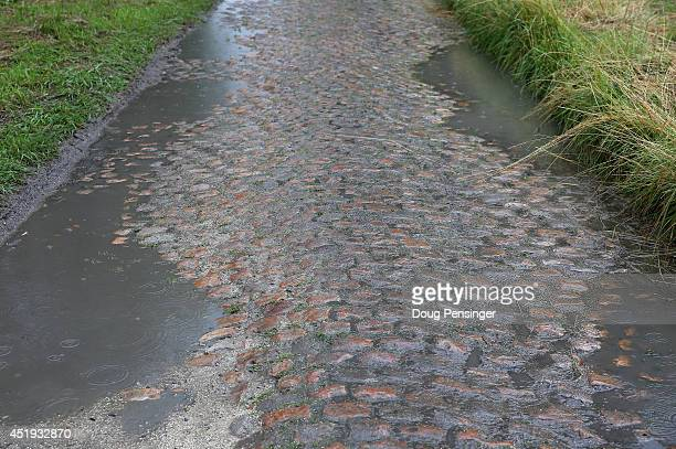 A detail photo of the cobbles on the final sector of stage five of the 2014 Le Tour de France on July 9 2014 in Wallers Belgium
