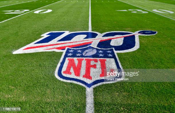 Detail photo of the NFL 100 logo during the game between the Carolina Panthers and the Atlanta Falcons at Bank of America Stadium on November 17 2019...