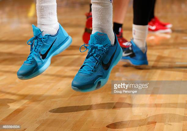 A detail photo of the shoes of Wilson Chandler of the Denver Nuggets as he faces the Houston Rockets at Pepsi Center on March 7 2015 in Denver...