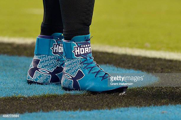 Detail photo of UnderArmour Charlotte Hornet cleats worn by Cam Newton of the Carolina Panthers before a game against the New Orleans Saints at Bank...