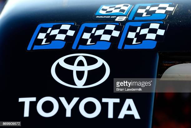 Detail photo of winners stickers on the car of Christopher Bell driver of the JBL Toyota during practice for the NASCAR Camping World Truck Series...