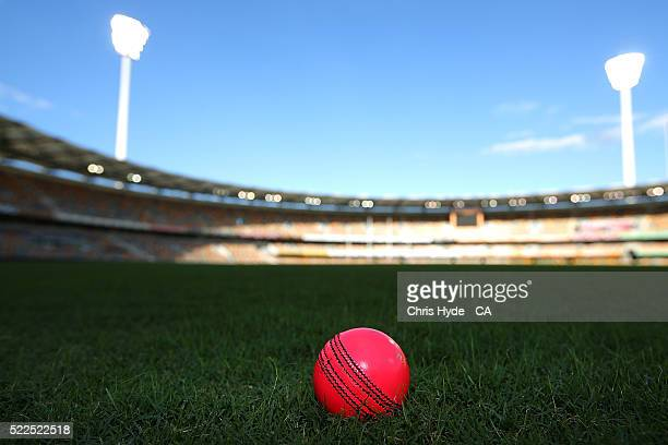 Detail photograph of a pink ball at the Gabba during a Cricket Australia media opportunity on April 20 2016 in Brisbane Australia