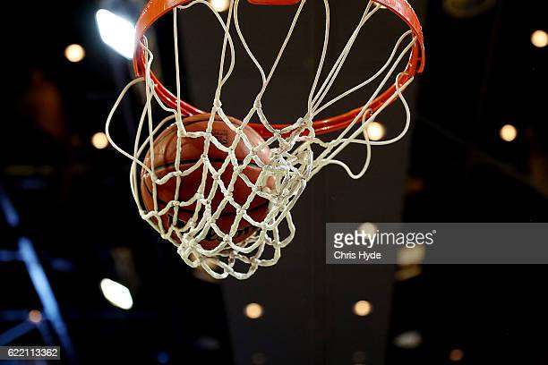 Detail photograph of the basketball hoop and ball before the round six NBL match between the Brisbane Bullets and the Sydney Kings at the Brisbane...