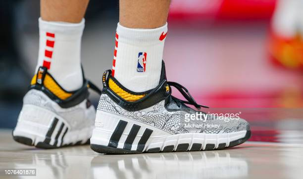 Detail photograph showing the Adidas shoes of Jeremy Lin of the Atlanta Hawks during the game against the Indiana Pacers at Bankers Life Fieldhouse...