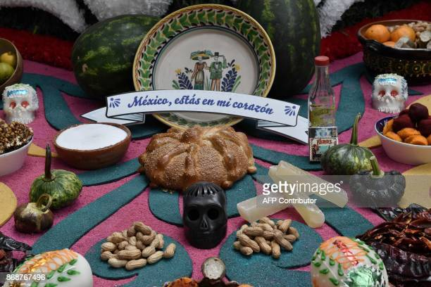 Detail picture of an altar dedicated to Mexican artist Frida Kahlo at the Frida Kahlo Museum in Mexico City taken on October 31 ahead of the November...