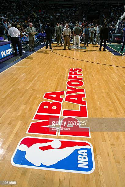 Detail picture of the NBA Playoff logo on the court prior to the game between the New Jersey Nets and the Milwaukee Bucks in Game three of the...