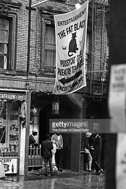 Detail portrait of the iconic folk music club and bar 'The Fat Black Pussycat Theatre' in June 1963 The theatre and bar situated on MacDougal Street...