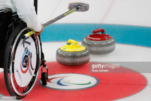 Detail shoot of Korea wheelchair during the Wheelchair Curling Round Robin Session 01 during day one of the PyeongChang 2018 Paralympic Games at...