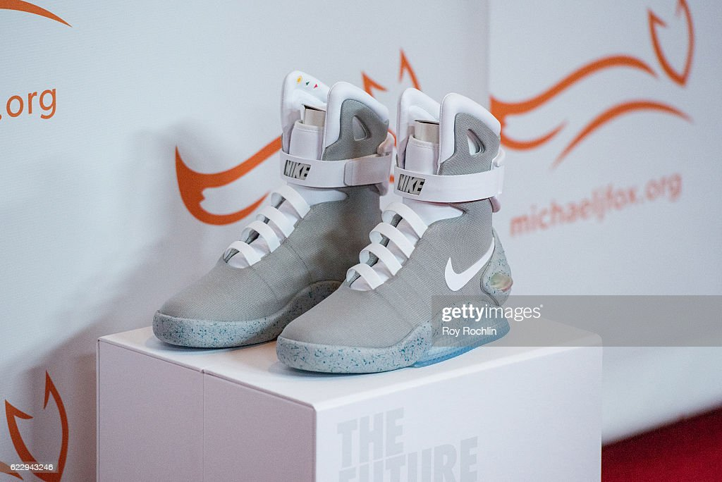 detail shot a pair of Nike Mag during the 2016 A Funny Thing Happened On The Way To Cure Parkinson's at The Waldorf=Astoria on November 12, 2016 in New York City.