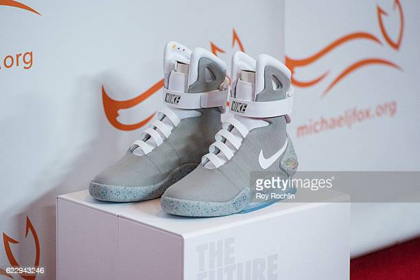 detail shot a pair of Nike Mag during the 2016 A Funny Thing Happened On The Way To Cure Parkinson's at The Waldorf=Astoria on November 12 2016 in...
