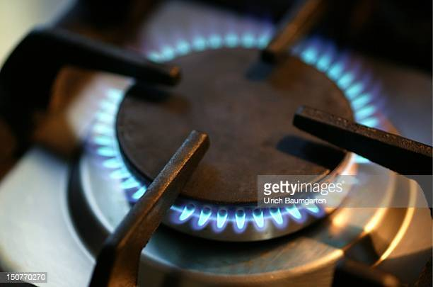 Detail shot burning gas cooker