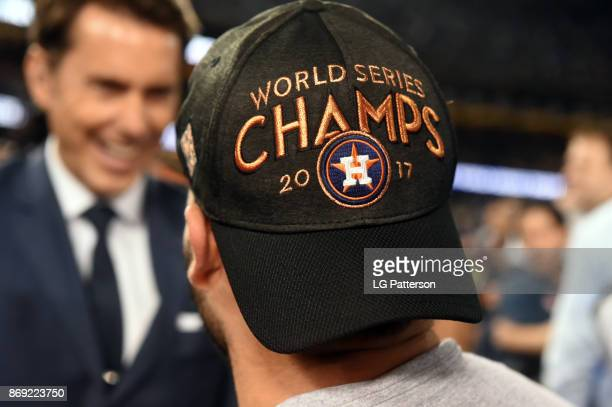 Detail shot of a 2017 World Series championship hat on a Houston Astros player after Game 7 of the 2017 World Series against the Los Angeles Dodgers...