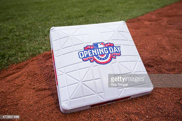 A detail shot of a base with the Opening Day logo on the field before the game between the Baltimore Orioles and the Toronto Blue Jays at Oriole Park...