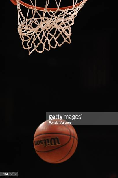 Detail shot of a basketball falling through baket during the Phillips 66 Big 12 Men's Basketball Championship at the Ford Center March 12, 2009 in...