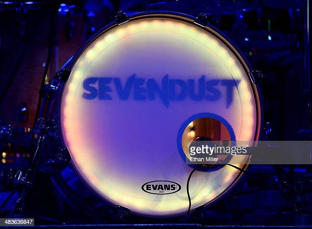 A detail shot of a bass drum for drummer Morgan Rose of Sevendust during an acoustic concert at the Marquee Theatre as the band tours in support the...