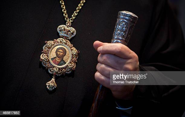 Detail shot of a bishop of the Greek Orthodox Church on January 13 2011 in Berlin Germany