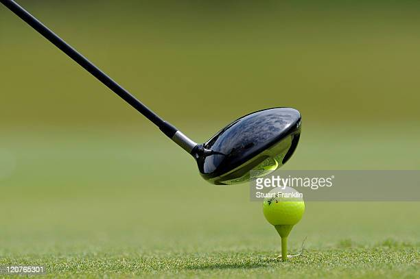 A detail shot of a driver and a golf ball is seen during a practice round prior to the start of the 93rd PGA Championship at the Atlanta Athletic...
